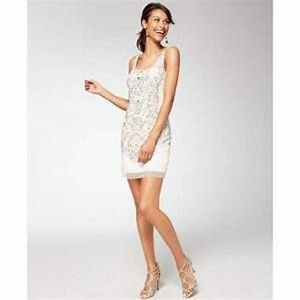 Adrianna Papell Short White Beaded Dress 14 NWT